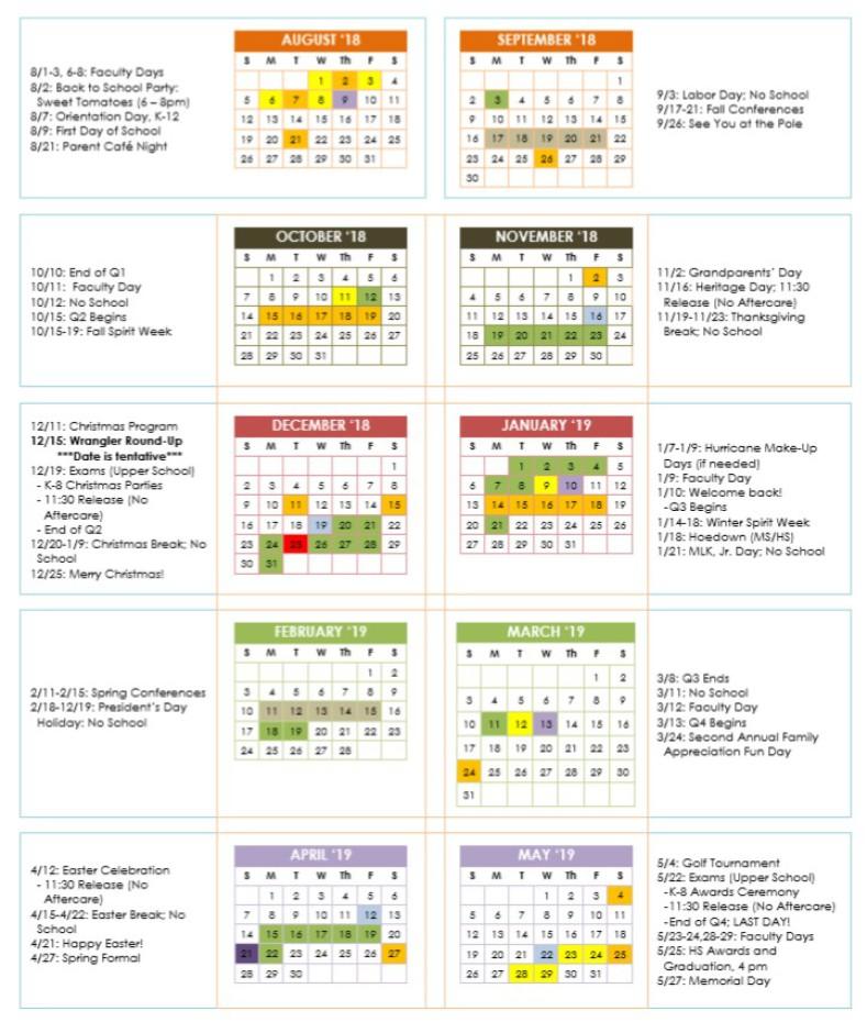 2018 2019 school calendar - When Does Christmas Break End